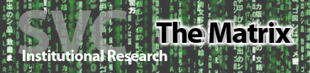 SVC Institutional Research Matrix banner showing the Matrix Movie text generator